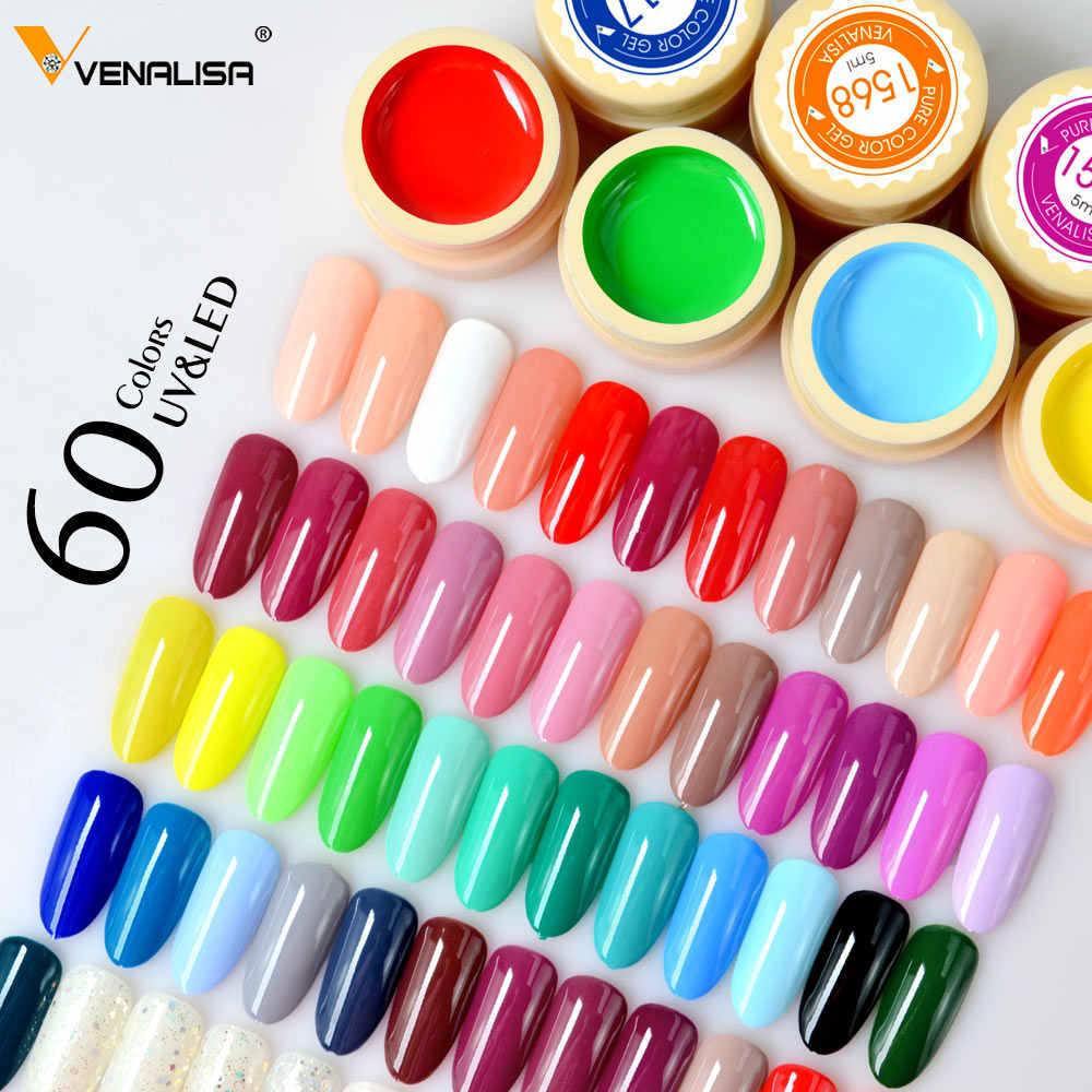 Venalisa warna Gel Cat uv Nail Gel Soak Off Nail Art led nail lacquer 60 warna glitter rainbow Lukisan Gel cat kuku