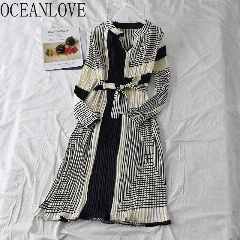 Новинка 2020 года. Кружевное платье с длинным рукавом и бантом в Корейском стиле. Винтажное женское платье с высокой талией. Длинное платье 13806