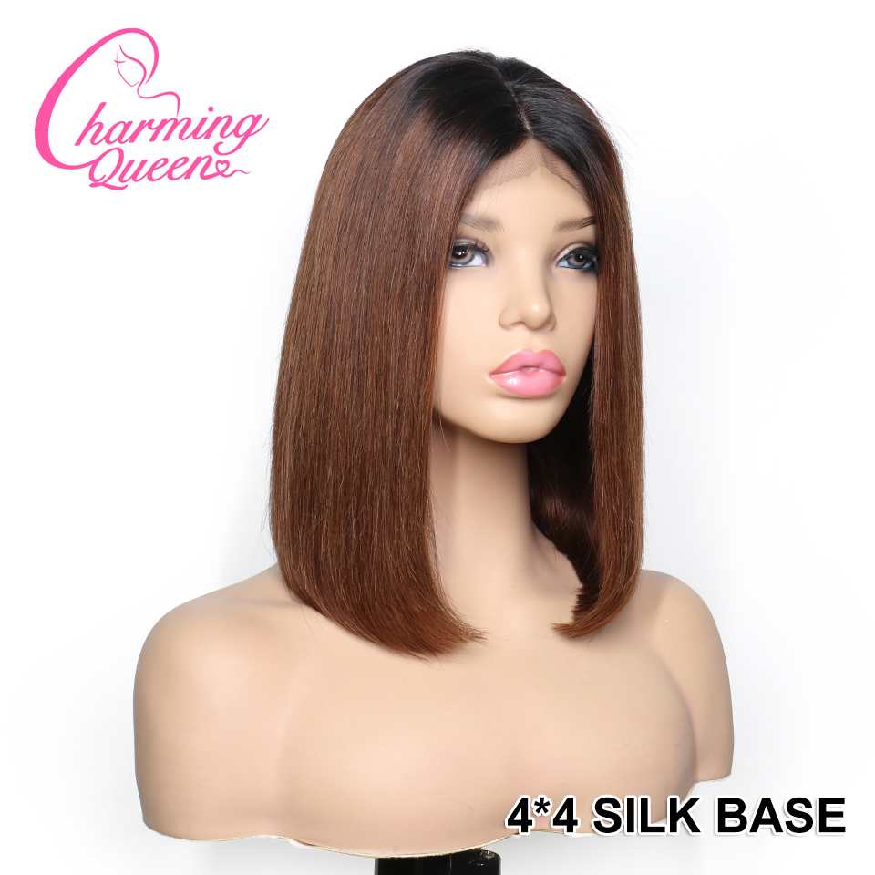 Lace Closure Human Hair Wigs 4 4 Silk Top Wigs For Women Peruvian Remy Hair 150
