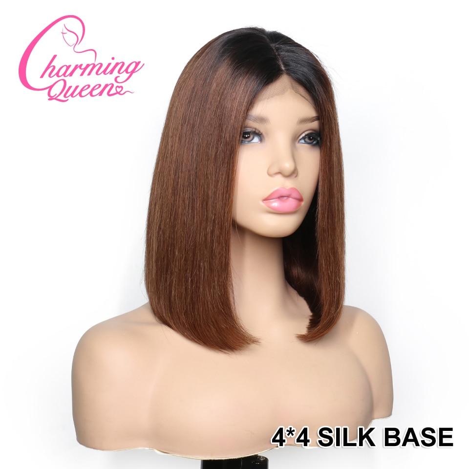 Lace Closure Human Hair Wigs 4 4 Silk Top Wigs For Women Peruvian Remy Hair 150