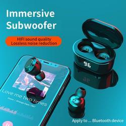 Наушники-вкладыши TWS с 5,0 Bluetooth наушники Беспроводной сенсорный Управление Hi-Fi наушники светодиодный Дисплей спортивные Водонепроницаемый ...