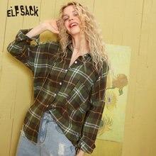 ELFSACK Colorblock Plaid British Loose Casual Green Blouse Shirt