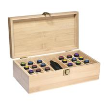 Essential Oil Storage Box Case Wooden Hold 24 Bottles 5ml 10ml 15ml + 1 Large Slot for 118ml 60ml 1-4 oz Ounce Organizer #4O
