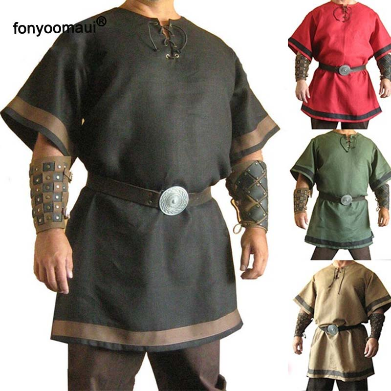 Mens Medieval Vintage Viking Knight Cosplay Costume Party Tunic Tees Tops Shirts