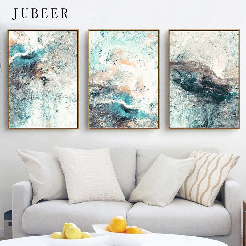 Simplicidad moderna de pinturas abstractas de lienzo imágenes modulares lienzo de pared para decoración de sala de estar sin marco