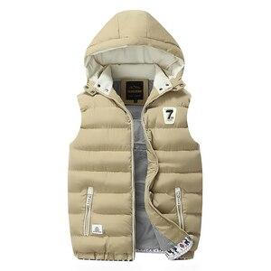Image 5 - Chaleco polar con capucha para hombre, chaleco grueso y cálido de algodón, chalecos suaves informales para hombre, chaqueta sin mangas a prueba de viento, Parkas, Invierno 2020