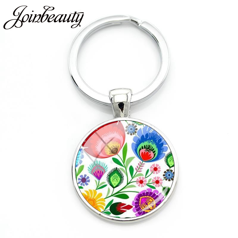 JOINBEAUTY Polish Folk Classical Flower Print Glass Cabochon Dome Keychain Charms Key Chain Keyring Key Holder Jewelry Gift PF05