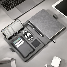 Business travel A5 manager bag portable padfolio notebook with power bank battery charger wire and wireless charging mobile rack