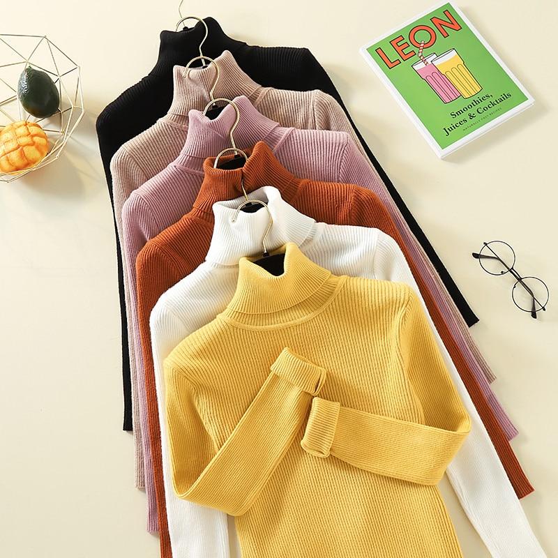 Turtleneck Sweater Women Long Sleeve Slim Solid Knitted Women Pullover Sweater 2019 Autumn Winter Jumper Ladies Tops Pull Femme