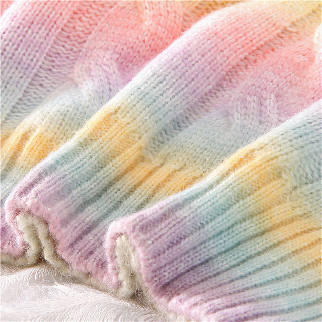 Autumn Winter Women Rainbow Sweaters Tie Dye Pullover O-Neck Long Loose Striped Korean Jumpers Candy Color Oversized Female Tops 6