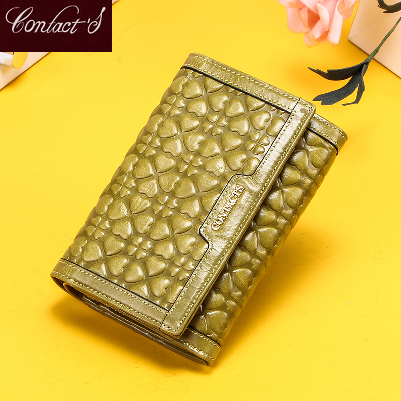 Contact's NEW Women Wallets Zipper Coin Purse Genuine Leather Card Holder Wallet Small Money Bags For Ladies Brand Portfolio