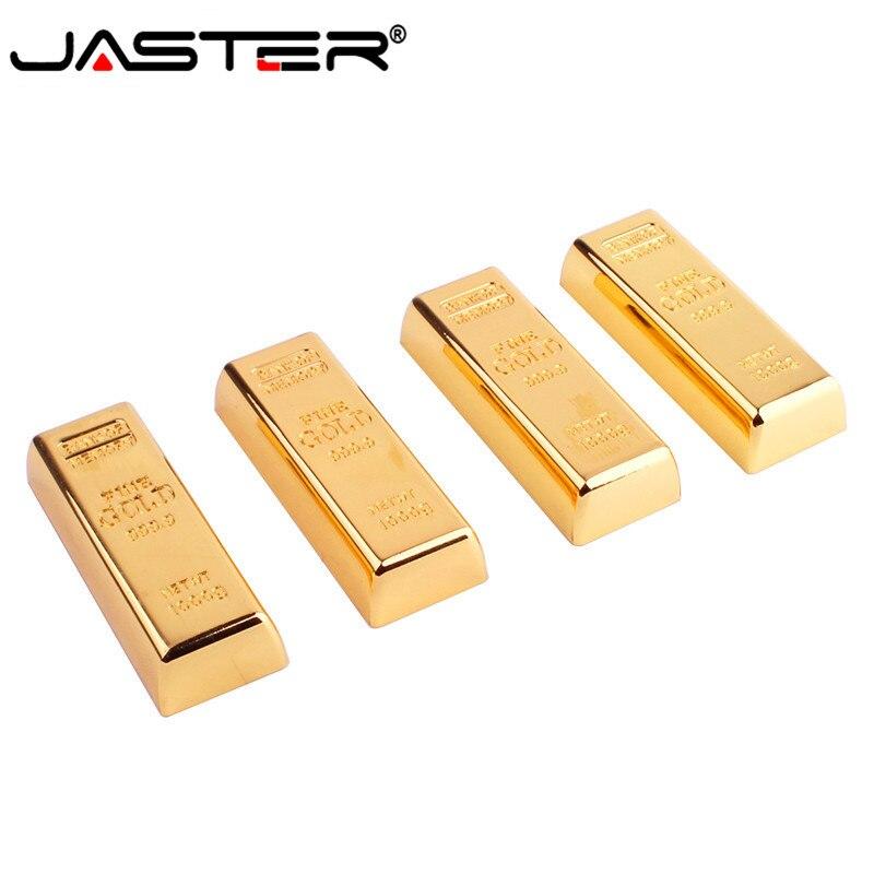 JASTER Metal Simulation Gold Bars Model USB Flash Drive Pen Drive Golden Memory Card  4GB/8GB/16GB/32GB U Disk Thumb Drive