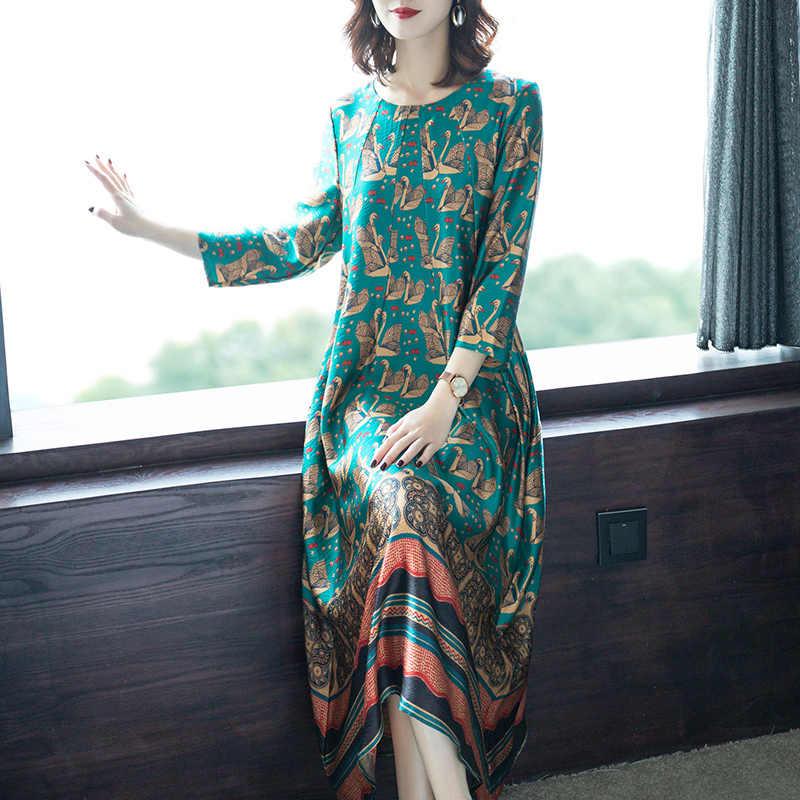 Kobiety letnia sukienka 2020 jedwabna plaża sukienka boho elegancka Plus rozmiar kwiatowy Midi sukienki damskie Casual Vestidos 8910 KJ3932