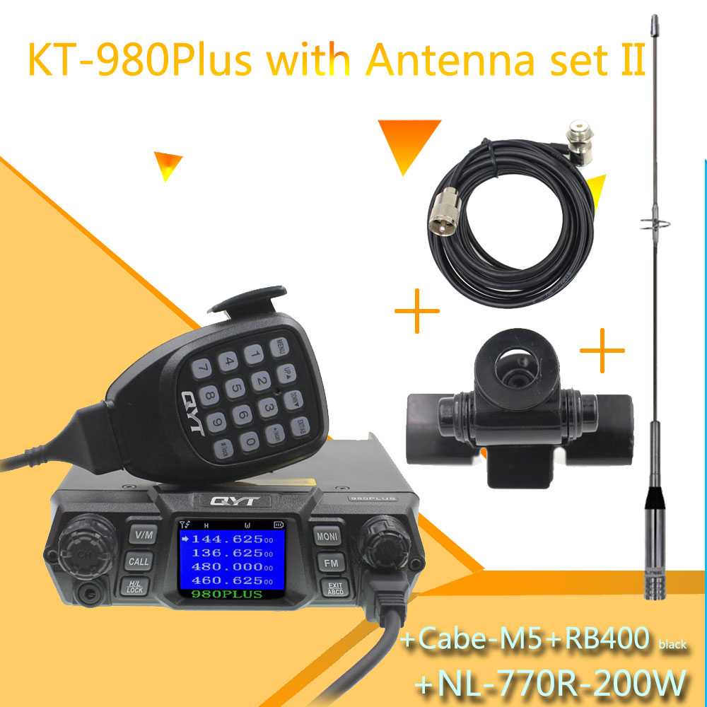 QYT KT-980 PLUS High Powerful 75W VHF /55W UHF Dual Band Quad Standby KT-980Plus DTMF Function Mobile Walkie Talkie