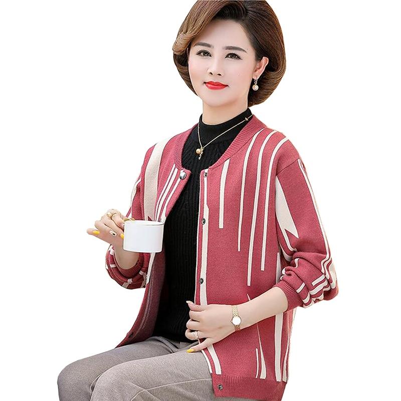 Automne chandail Cardigans femmes 2019 d'âge moyen mère vêtements à manches longues point ouvert lâche chandail veste femme tricot manteau