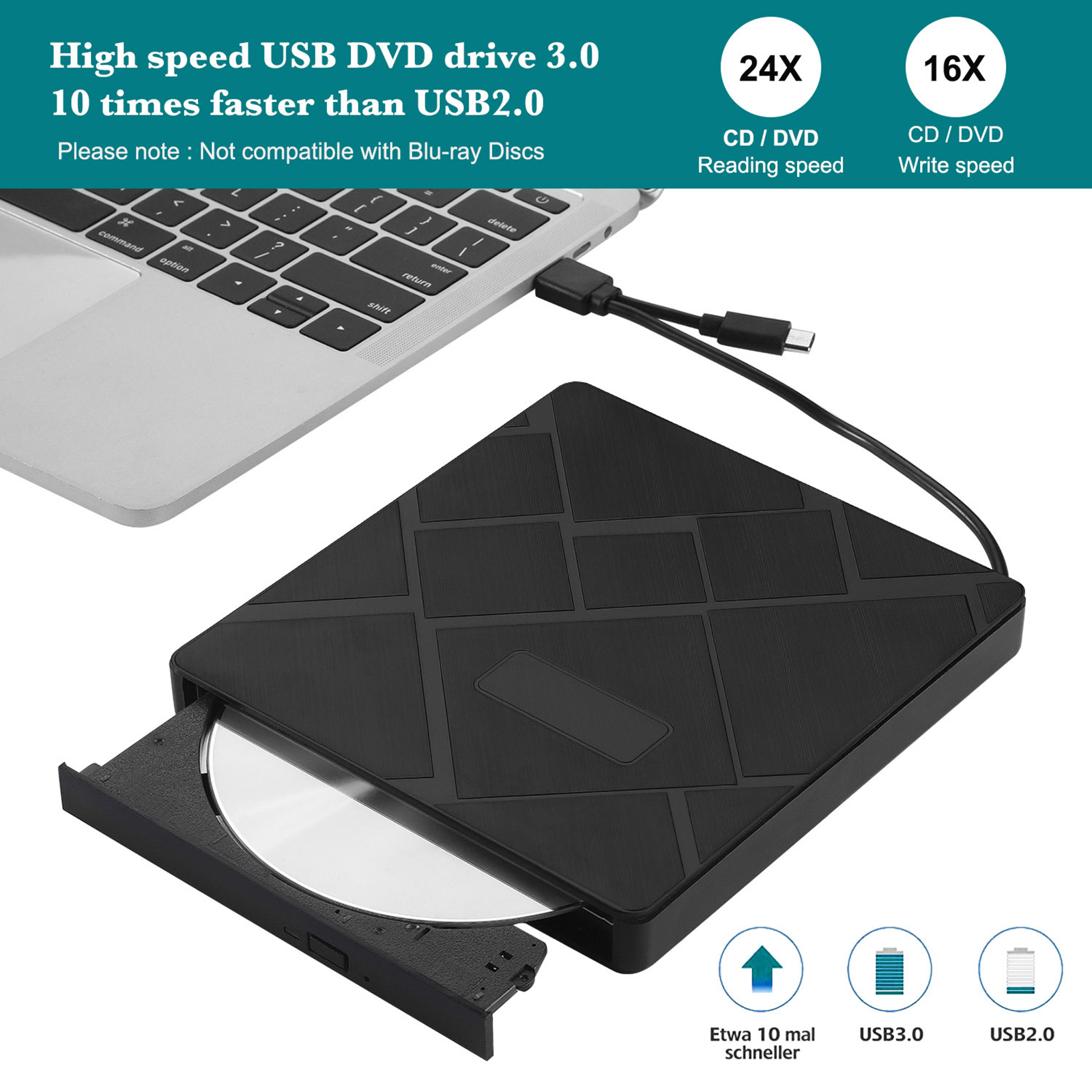 USB 3.0 Type-c External DVD Player Optical Drive Portable New VCD CD DVD Burner for Computers Laptop Optical Driver Dual Ports