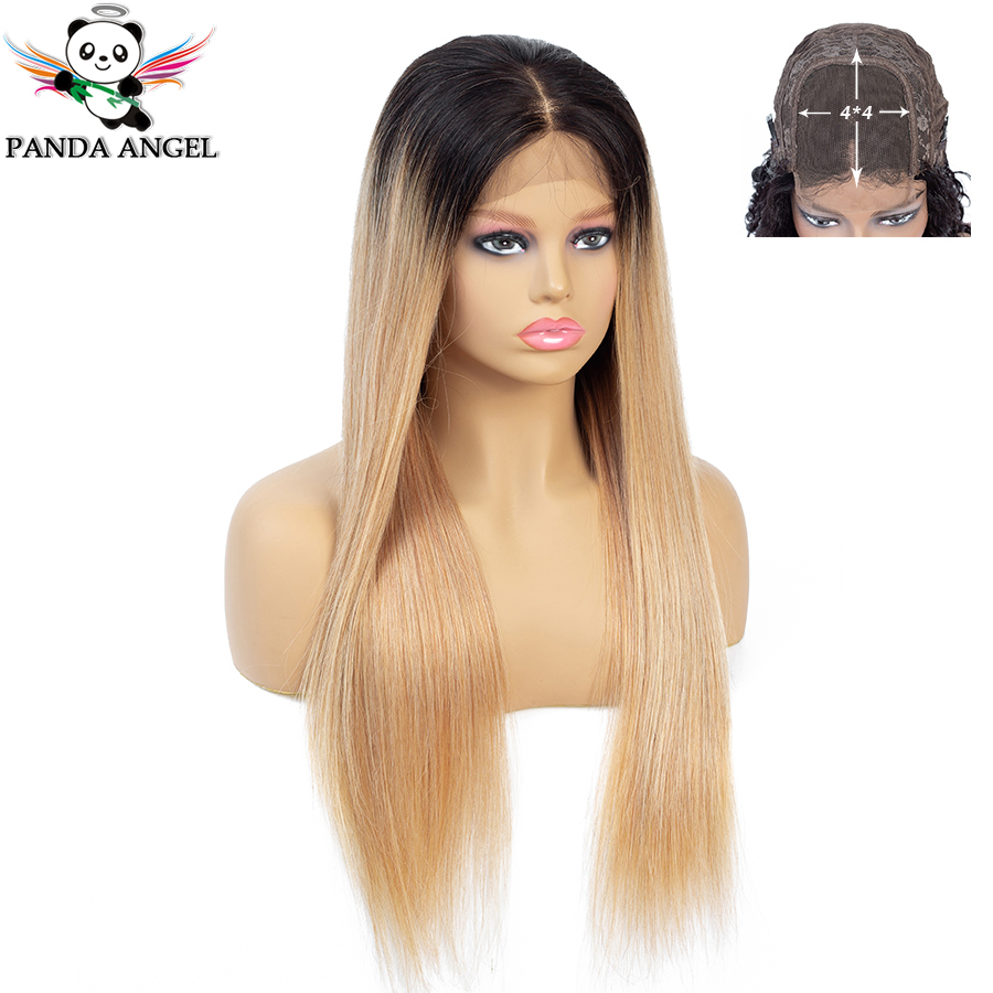 Panda Ombre Straight 1b/27 Lace Closure Human Hair Wigs For Black Women Indian 4*4 Lace Wigs Pre-Plucked With Baby Hair Remy
