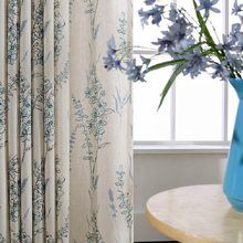Environmental Protection Cotton and Linen Blue Printing American Pastoral Style Curtains for Living Room Bedroom Curtains Custom