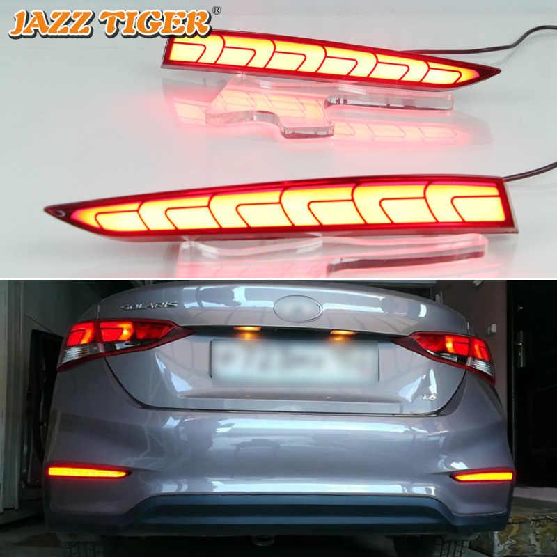 JAZZ TIJGER Multi-functies Auto LED Mistachterlicht Remlicht Bumper Licht Auto Decoratie Voor Hyundai Accent Solaris 2017 2018