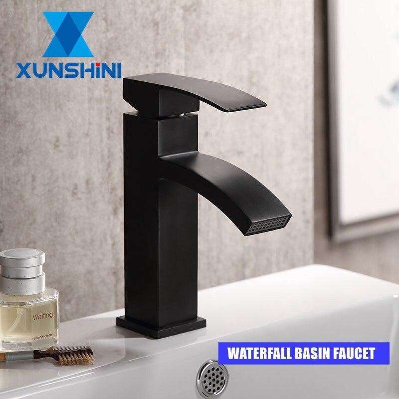 XUNSHINI кран для раковины с водопроводом, кран для ванной комнаты, Черный кран для раковины, кран для ванной Смесители для бассейна      АлиЭкспресс