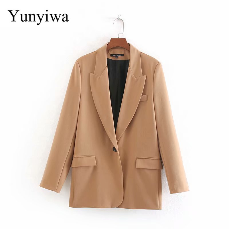 Women Elegant Single Button Pockets Blazer Long Sleeve Female Casual Coat Office Wear Outerwear Solid Color Chic Suit Tops