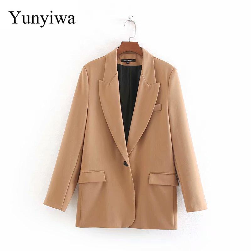 Women Elegant Single Button Pockets Blazer Long Sleeve Female Casual Coat Office Wear Outerwear Solid Color Chic Suit Tops