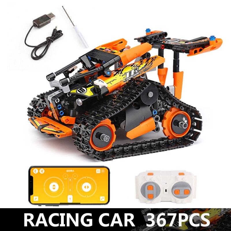 Функция питания от двигателя, Радиоуправляемый гусеничный гонщик, электрический, подходит для автомобиля, Legoing, 42065 скоростной автомобиль, строительный блок, кирпичи, модель, подарок для детей - Цвет: 13037-367pcs