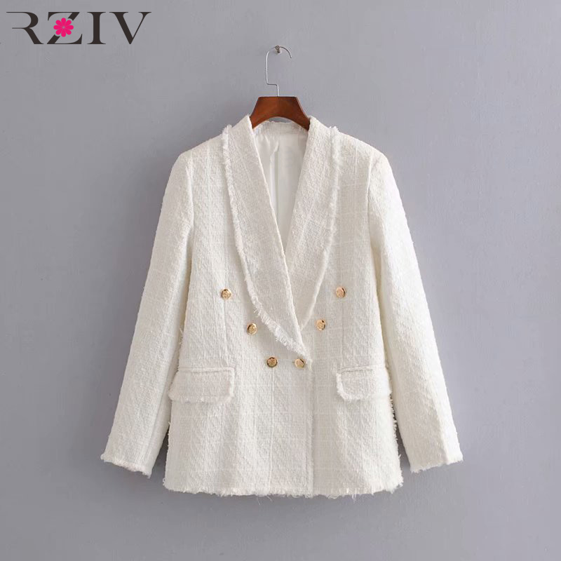 RZIV Autumn and winter women's suit casual solid color double-breasted tassel pocket decorative suit