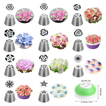 Russian Tulip Icing Piping Nozzles Stainless Steel Flower Cream Pastry Tips Bag Cupcake Cake Decorating Tools - discount item  50% OFF Kitchen,Dining & Bar