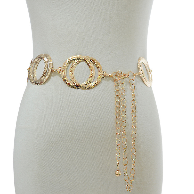 Metal Waist Chain Belt Women Dresses Waist Chain Ladies Gold Decoration Metal Big Ring Belt