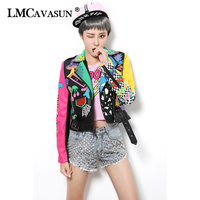 LMCAVASUN Casual Autumn Outerwear 2018 Rivet Decoration Black Jacket for Women Leopard Pattern PU Leather Jackets & Coats
