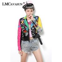 LMCAVASUN Casual Autumn Outerwear 2018 Rivet Decoration Black Jacket for Women Leopard Pattern PU Leather Jackets & Coats