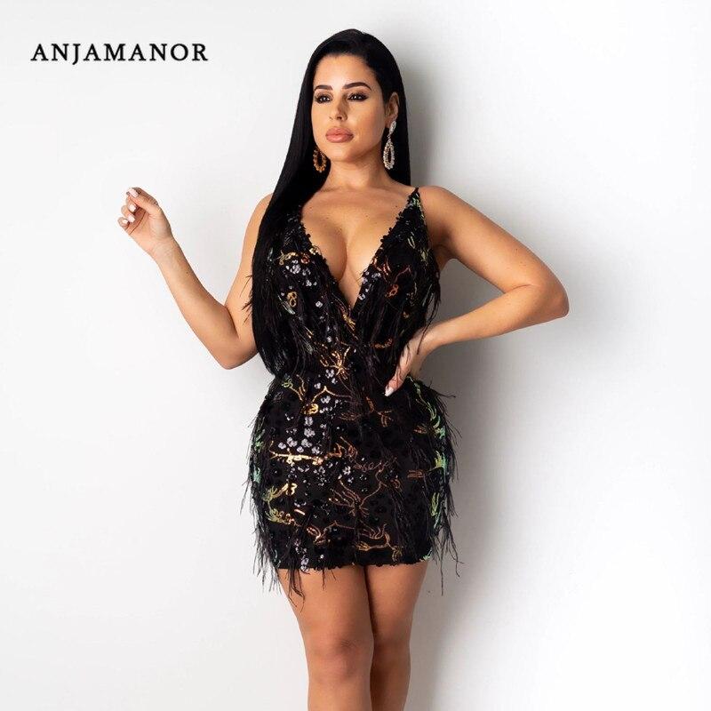 ANJAMANOR, сексуальные платья, женские вечерние платья, Клубная одежда, блестки, перья, сетка, глубокий v образный вырез, открытая спина, мини, обл