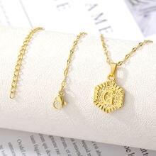 Золотое a z ожерелье с буквами для женщин и мужчин шестигранной