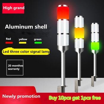 Diodo emissor de luz 3 cores l haste luz indicadora 24 v/220 v luz de advertência oficina máquina sinal buzzer alarme segurança cuidado som luz led