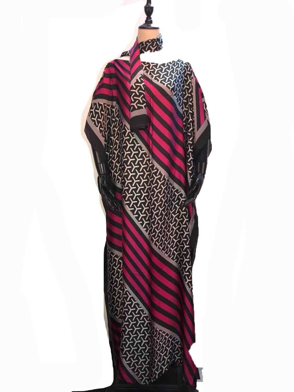 Popular Dubai Silk Kaftan Lady Dresses Match Scarf Amazing Printed Party Dresses African Dresses For Women