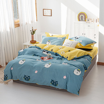 Classic Blue Bedding Set Luxury Bed Sheet Quilt Cover Pillowcase Family Set Cartoon Pattern Queen King Super King Size Bed Set