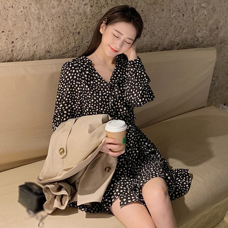 Черное Шифоновое Платье с принтом женские весенне осенние платья