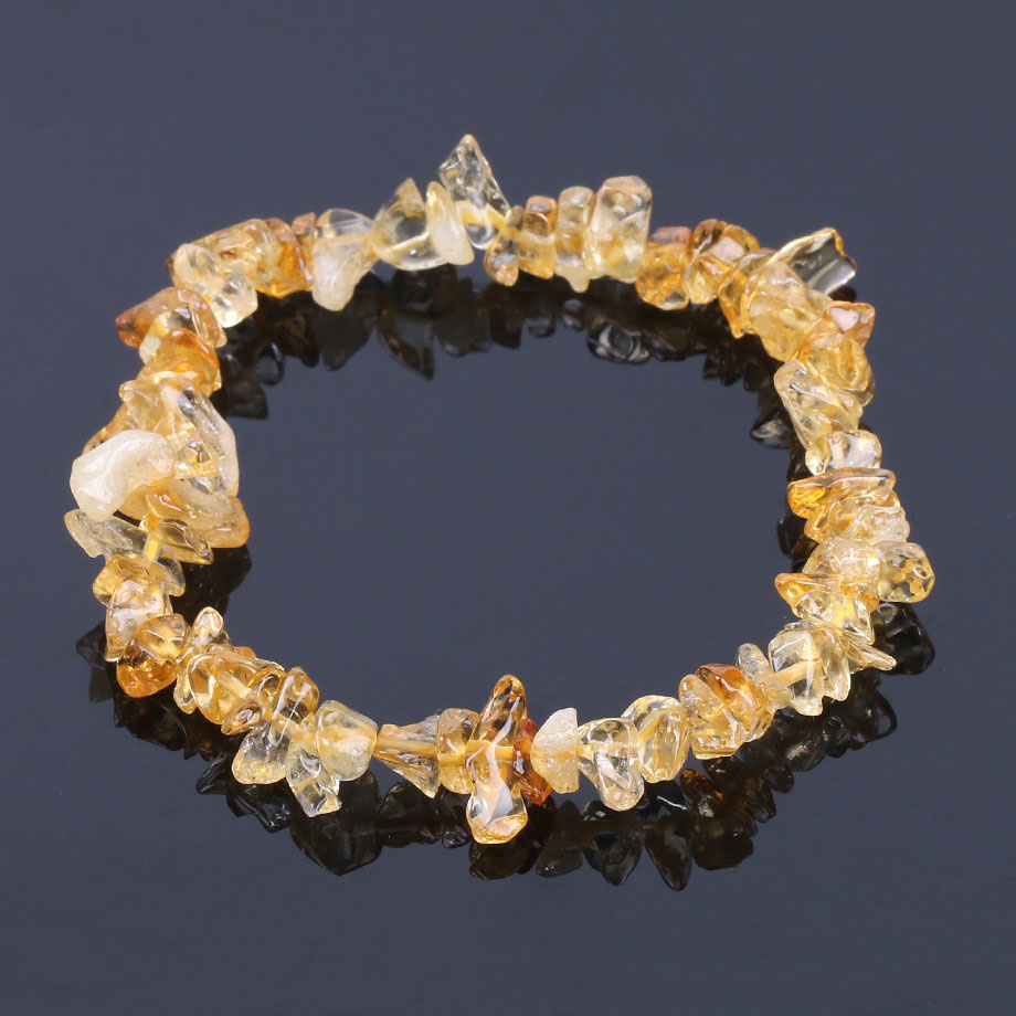 Natural Citrine Irregular Gravel Semi-precious-stone Bracelet For Women And Men Crystal Jewelry For Friends