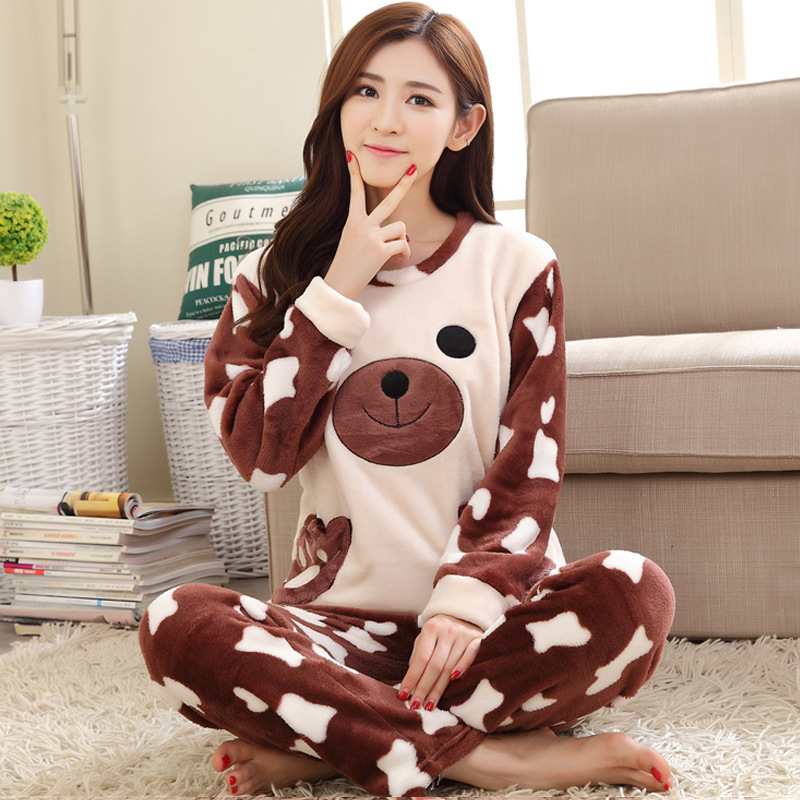 [Jun Xin] Autumn And Winter Thick Pajamas Women's Flannel Maile Bear Cartoon Homewear Set