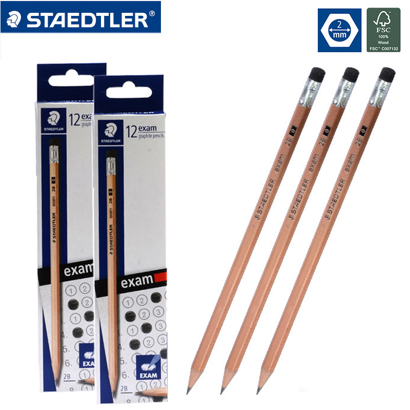 24pcs STAEDTLER 2B Pencil Drawing Pencils Writing Pencil Stationery School Office Supply Stander Pencils With Eraser 132 40N C12