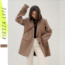 Women Stripes Blazer Fashion Loose Thick Woolen Tweed Suit Jacket 2019 Winter La