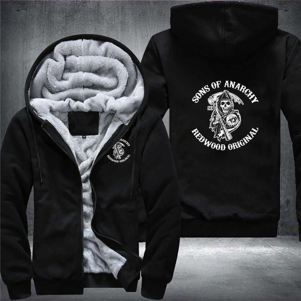 Della Chiusura Lampo di inverno Sons of Anarchy Caos del Panno Morbido di Cotone Cappotti Liberalismo Jax teller Stampa Mens Felpe Giacca MC Addensare Sweaterwear