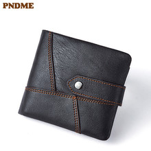 PNDME fashion vintage soft genuine leather men's women's wallet short hasp luxury cowhide business card holder card small purse