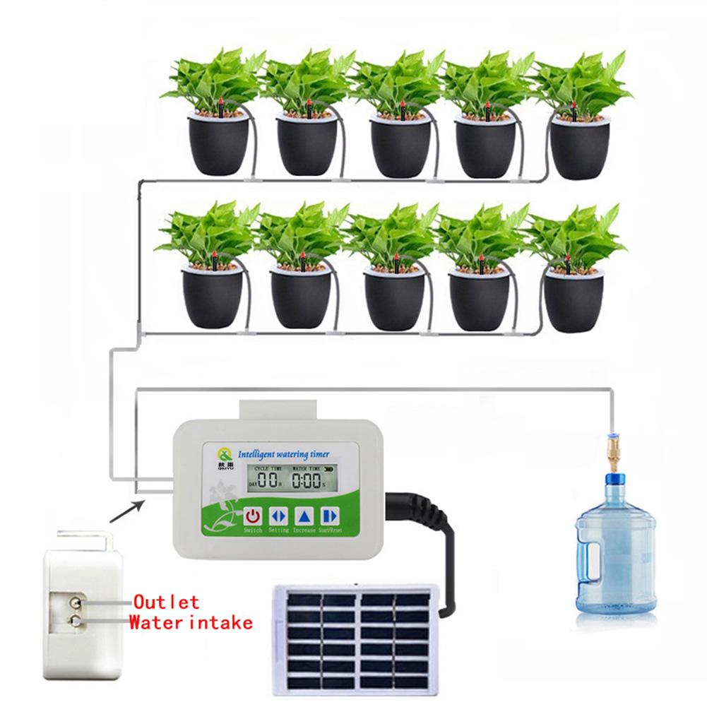 Solar Intelligent Automatic Watering Timer Waterproof Watering Device Irrigation Regularly Irrigating Flowers Plant Controller
