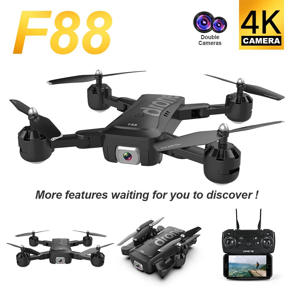 Optical Flow Positioning Drone with Long Endurance 4K Dual Camera HD Helicopter WiFi FPV Gesture Four-axis Aircraft Selfie F88