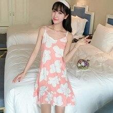 цены Sleepwear Women nightdress sexy sleeveless dress Spaghetti shoulder strap Floral printed sweet cute girl  Homewear