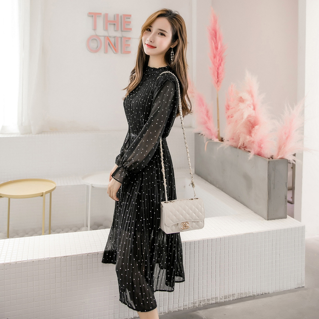 Black Vintage Spring Korean Fashion Long Sleeve Polka Dot Pleated Dress