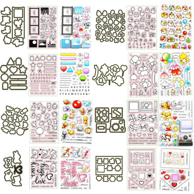 Valentine's Cute Animals Balloon Decorations Love 2020 New Cutting Dies And Stamps Set For DIY Scrapbooking Crafts Cards Making