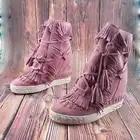 Camurça fring alto topo cunhas mulher sapatos dedo do pé redondo altura crescente rendas até borla botas tornozelo botas casuais senhoras tamanho grande - 3